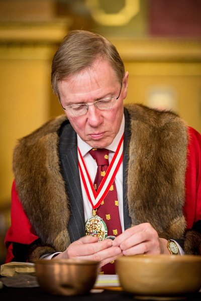 The Prime Warden Timothy Schroder inspects the coinage at the Trial of the Pyx