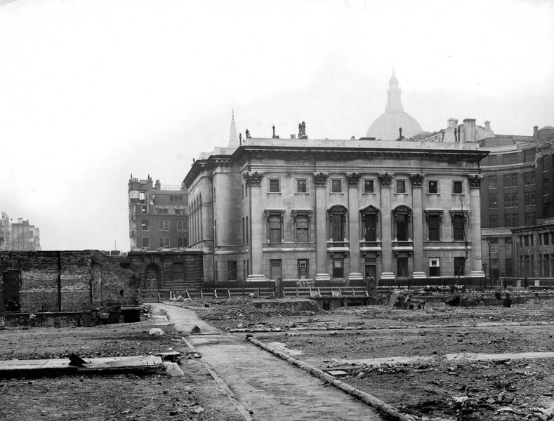 Goldsmiths' Hall following bomb damage to the surrounding area in World War II