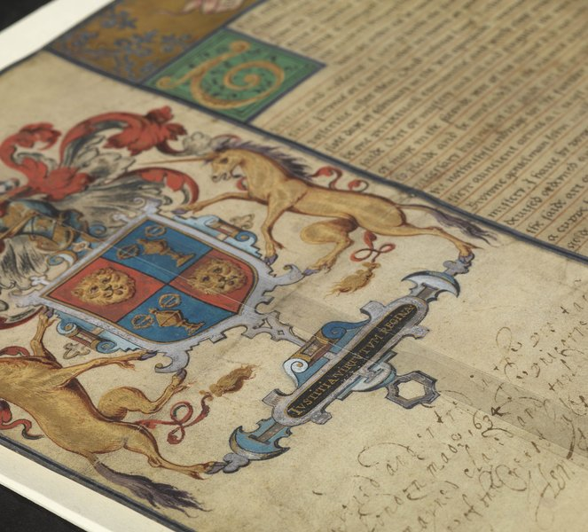 A detail from the Goldsmiths' Company's grant of arms, 1571