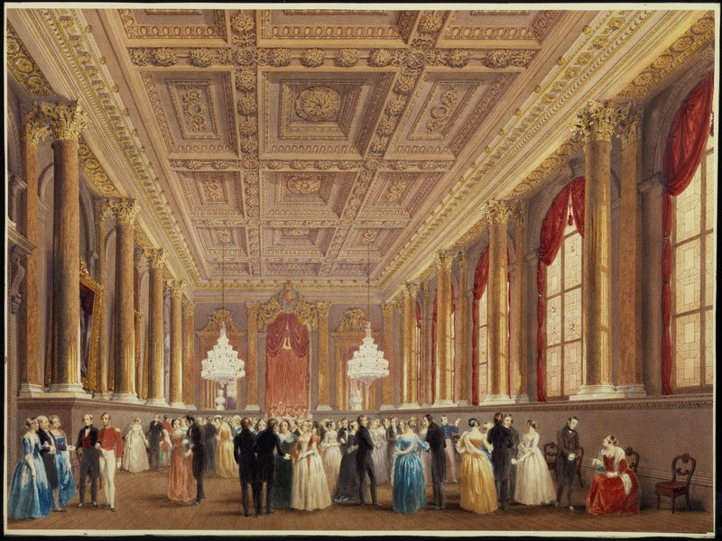 A ball in the Livery Hall, c.1840, watercolour, by Arthur Melville