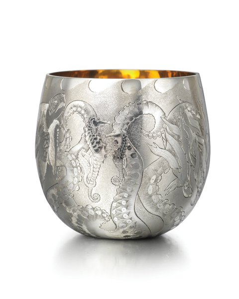 Louise Sorrell, Engraved Silver Tumbler, Sam Jones (Engraving) Ltd. Image courtesy of GCDC, Photography by Richard Valencia