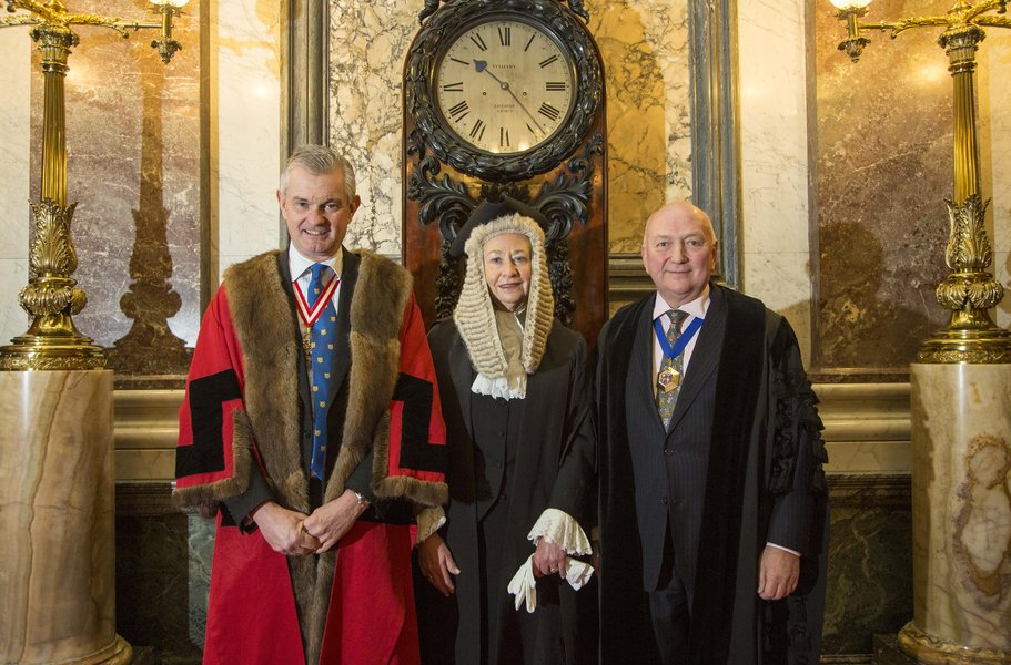 L-R Prime Warden Michael Wainwright, Queen's Remembrancer Senior Master Barbara Fontaine and Chief Executive and Clerk, Sir David Reddaway. Image © The Goldsmiths' Company. Photography by Richard Lea-Hair