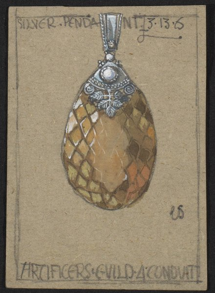 An Artificers' Guild design for a silver-mounted pendant, circa 1910