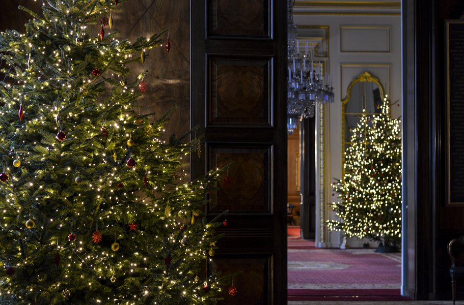 View to the Drawing Room from the Exhibition Room, at Christmas