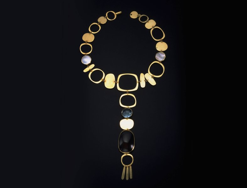 Necklace, 1962, by Gerda Flöckinger. 14ct gold set with blister pearls, smoky quartz and cabochon aquamarine.