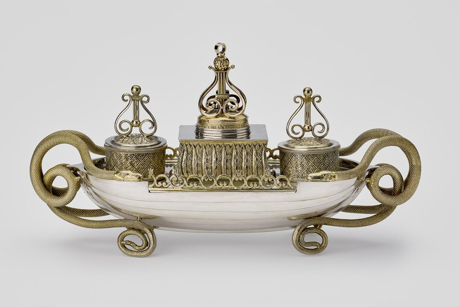 Boat-shaped inkstand, Johann Christian Sick, c.1810. Image: Royal Collection Trust/ © Her Majesty Queen Elizabeth II 2017.