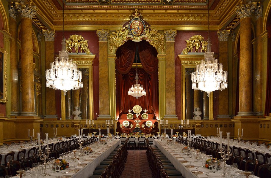 The Livery Hall, set for a dinner.
