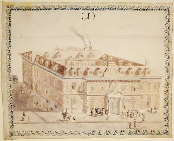 Watercolour of the Second Hall, 1692, from Ward's Survey