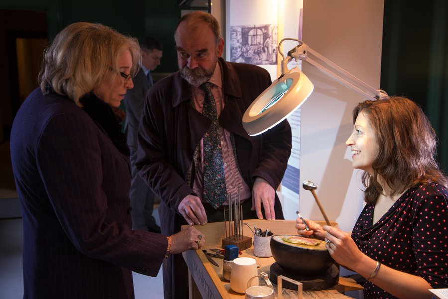 Silversmith Angela Cork with Rosemary Ransome Wallis, at the National Trust's Belton House