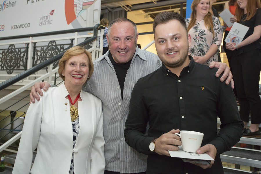 left to right - Judith Cobham-Lowe, Prime Warden of the Goldsmiths' Company; potter and ceramic designer Keith Brymer Jones; and award winner, Andrew Fleming.