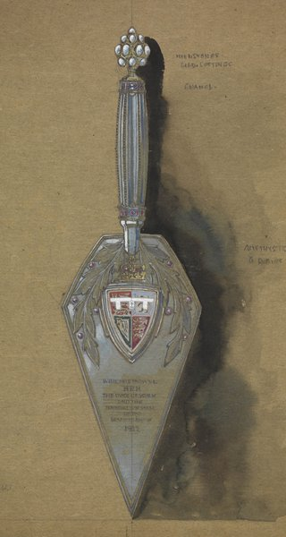 Artificers' Guild design for a trowel to be used by H.R.H. the Duke of York, c. 1922