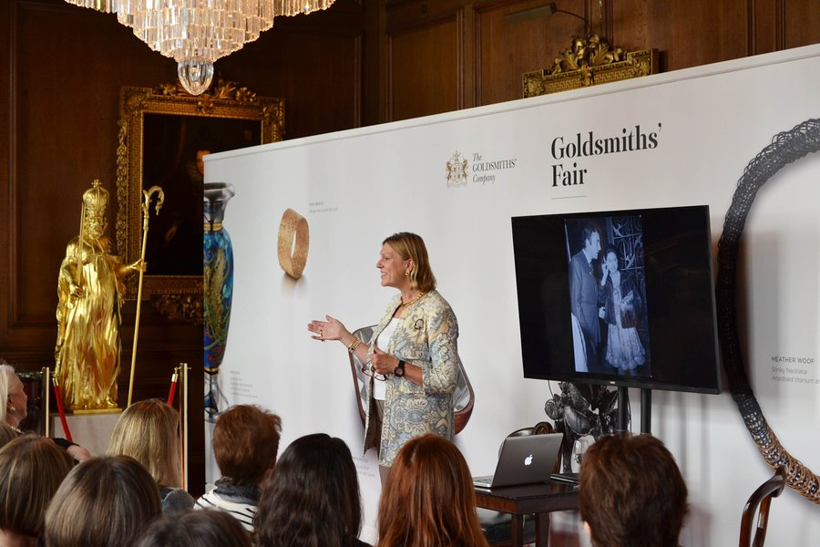 Jewellery expert  and BBC Antiques Roadshow regular Joanna Hardy speaking as part of our 2015 events programme. Photograph: Rory Lindsay.