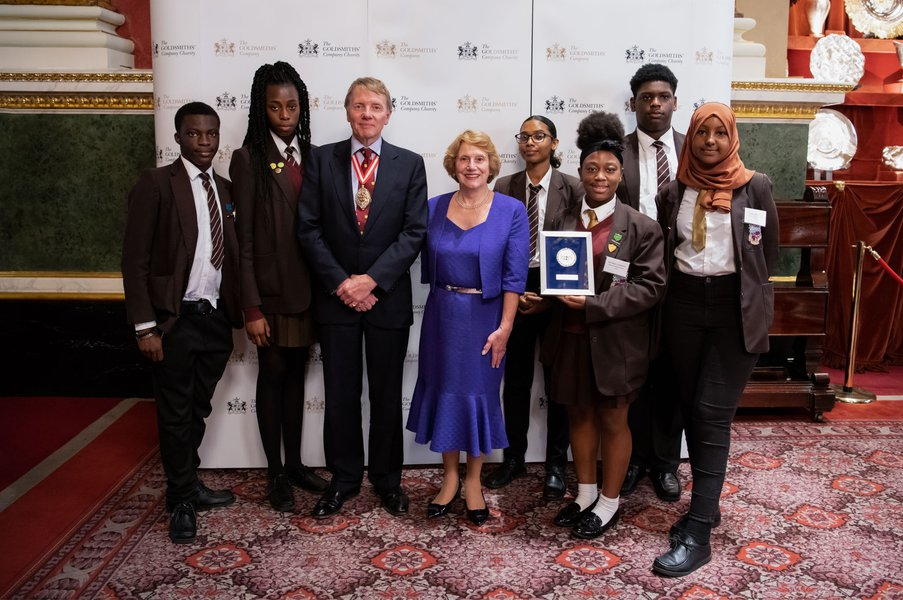 Prime Warden, Dr Timothy Schroder and Judith Cobham-Lowe, OBE with the Silver Award Winners from Addey and Stanhope School, London