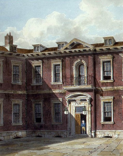 An early 19th Century watercolour by George Shepherd (fl. 1880-30) of the interior courtyard of the second Hall