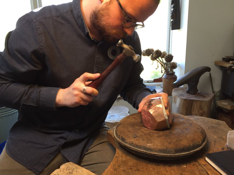 Hamish Dobbie, who is being mentored by silversmith Michael Lloyd