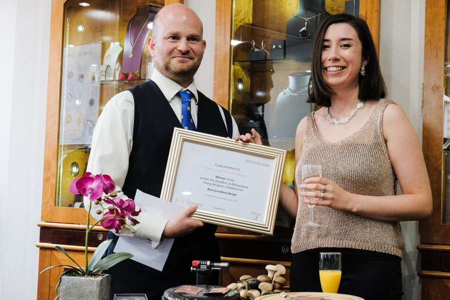 Adam Jacobs presents certificate to Rebecca Burt, 1st prize winner, Jewellery. Photography by Salvo Toscano