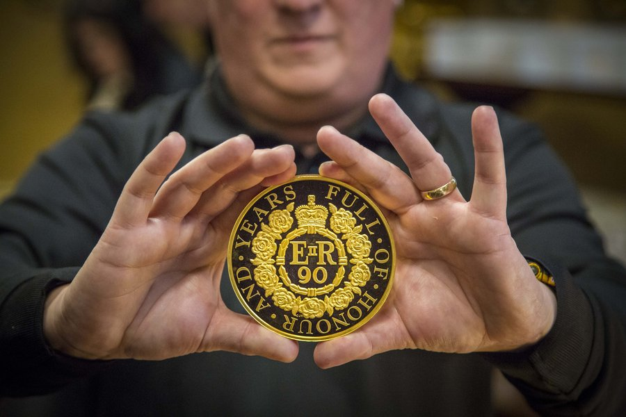 1 kilo gold coin to celebrate Her Majesty The Queen's 90th birthday.Trial of the Pyx at Goldsmiths' Hall, 31 January 2017. Image © The Goldsmiths' Company. Photography by Richard Lea-Hair