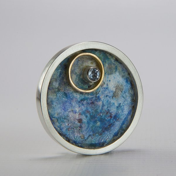 Lauren Braithwaite, Silver and Rose Gold Enamelled Brooch