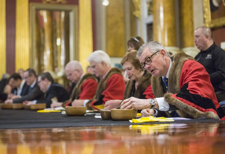 Trial of the Pyx at Goldsmiths' Hall, 31 January 2017. Image © The Goldsmiths' Company. Photography by Richard Lea-Hair