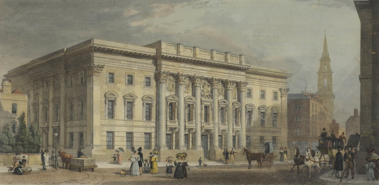 A 19th century hand-coloured engraving of Goldsmiths' Hall from a drawing by Thomas Shepherd.