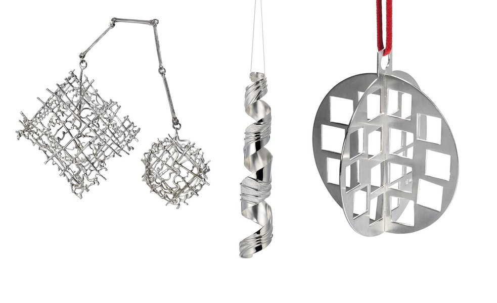 Snowflake by Jacqueline Stieger; Icicle Twirl by Kyosun Jung; Bauble-square cut by Anna Lorenz