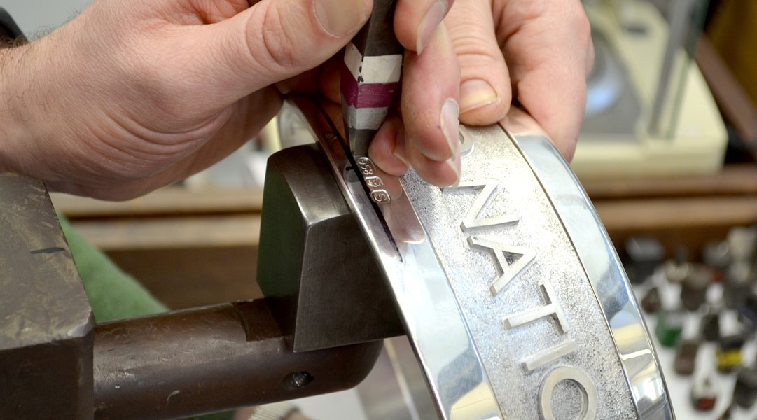 Hallmarking the base of the Trophy