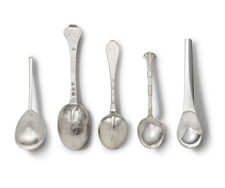 Selection of hand forged silver spoons from 1627 onwards, including a spoon by Rebecca de Quin from 2017 (right)