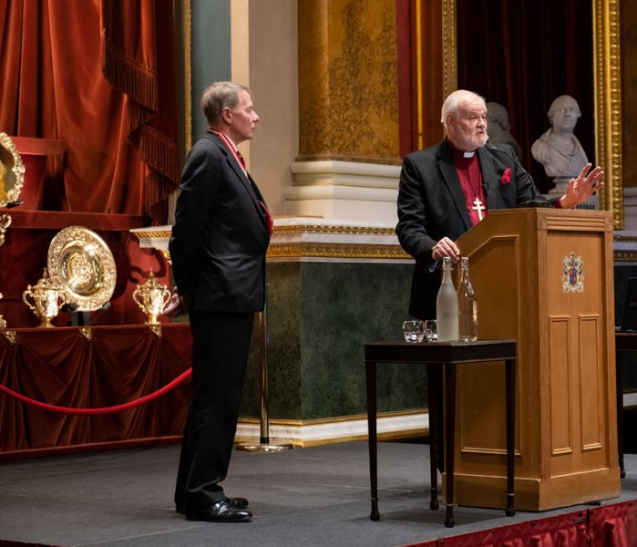 Dr Timothy Schroder with The Right Reverend and The Right Honourable Lord Chartres KCVO PC, at the Goldsmiths' Lecture 2019.